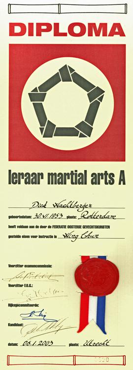Leraar Martial Arts Diploma